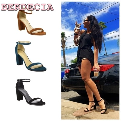 new fashion classic black suede ankle strap buckle sandals women dress chunky heel shoes open toe comfortable sandals dropship elegant black suede chunky heel dress