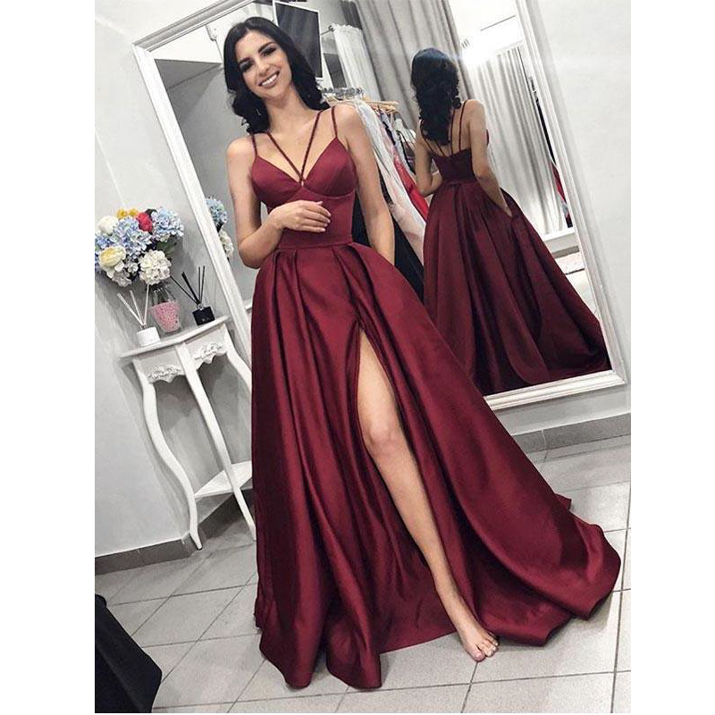 Burgundy Evening Dresses elegant Prom Dress with slit 2019 women satin formal party gown robe soiree
