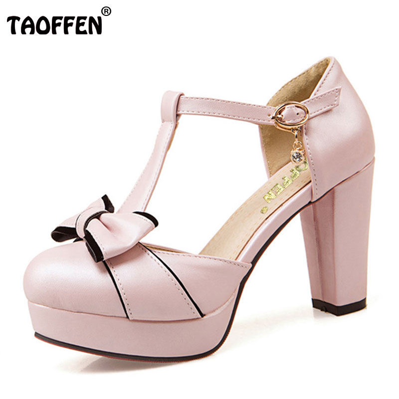 TAOFFEN Size 32-43 Sexy Lady High Heel Sandals Summer Shoes Women Ankle Strap Thick Heels Sandals Vacation Dress Women Footwear taoffen women high heel shoes woman sexy transparent heels sandals ladies ankle strap party wedding shoes footwear size 31 47