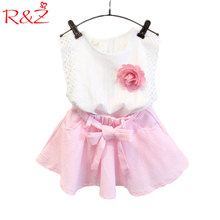 R&Z New 2017 summer girls clothing Sets fashion Cotton print shortsleeve T-shirt and skirts girls clothes k1