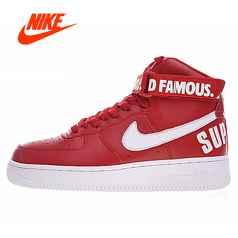 Official Original Nike Air Force 1 High Joint White-red Men's Basketball Shoes Outdoor Sneakers classic Leisure Retro 698696-610