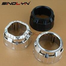 "Sinolyn Silver Chrome Black Square Round Mini Gatling Gun Shrouds Mask Hoods Cover For H1 2.5"" WST Bixenon Projectors Lens"
