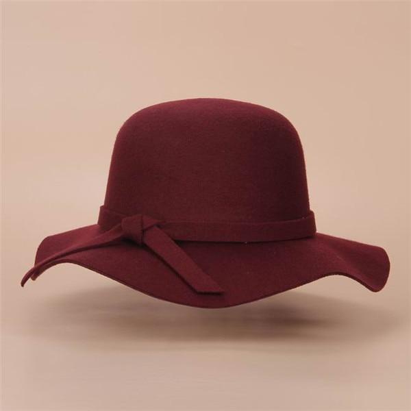Стиль, мягкая детская шляпа от солнца в винтажном стиле с широкими полями, шерстяная фетровая шляпа-котелок Fedora, широкополая шляпа для девочек, большая шляпа для детей 3-7 лет - Цвет: Wine red