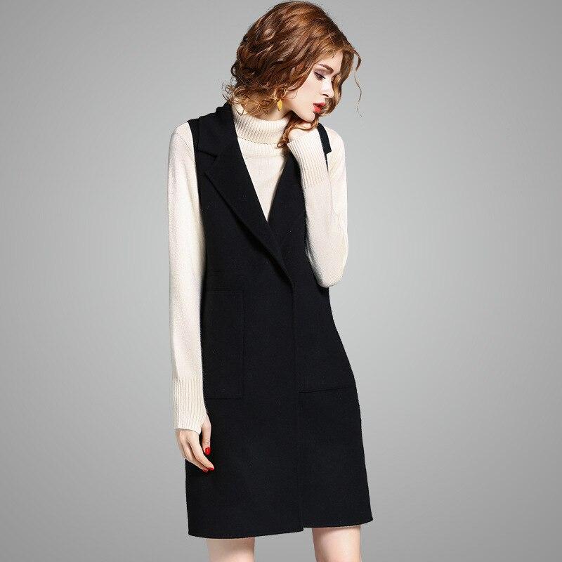 100% wool vest women sleeveless V neck women winter coat button black women trench coat