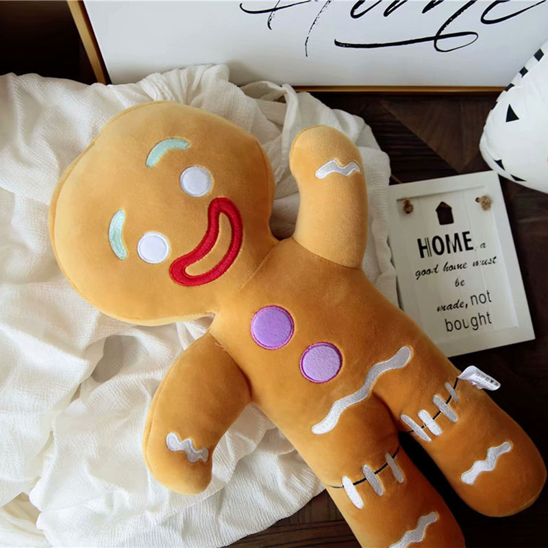 Cute Gingerbread Man Plush Toy Baby Appease Doll Biscuits Man Pillow Cushion Reindeer Home Decor Toy For Children Christmas Gift