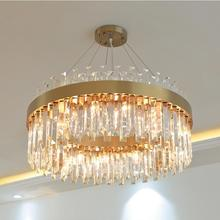Modern crystal living room chandelier light luxury atmosphere art round restaurant home LED lamps