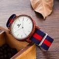2016 marca de fábrica Superior de los amantes De Bambú De Madera Madera Reloj De Cuarzo Ocasional de Nylon de la Correa de los Hombres Relojes Con para Unisex como Regalos artículo