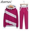 Plus Size 7 Cores 2017 Primavera Outono Mulheres 2 peça conjunto de roupas Hoodies Moda Casual ternos Esportivos Senhoras Treino