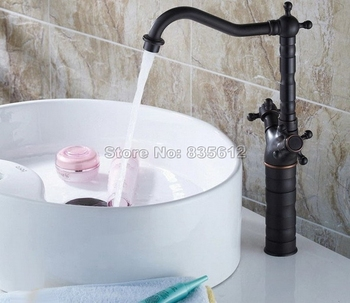 Swivel Spout Kitchen Faucet / Single Hole Deck Mounted Black Oil Rubbed Bronze Dual Handles Vessel Sink & Basin Mixer Tap Wnf162