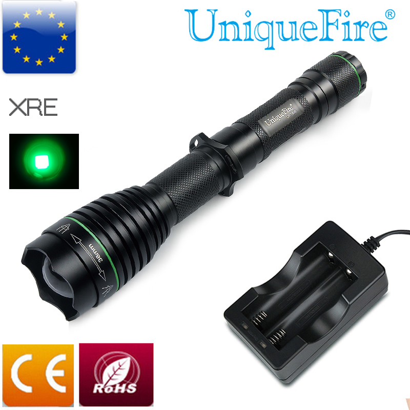 Tactical Flashlight UniqueFire 1508 T38 XRE LED Flashlight Torch Lamp Light For Hunting , Green Light+Two Slot Charger bosch v line 68 2607017191
