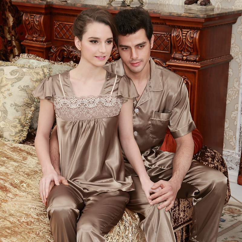 Luxury Couple Pajamas Men Women Sexy Satin Silk Pajama Pants Sets Short-Sleeved Pyjama Lounge Sets Lovers Sleepwear