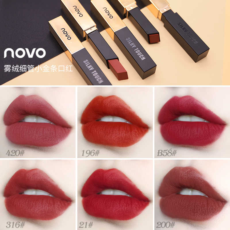 NOVO 2019 Matte Lipstick Small Gold Bars Luxury Silky Touch Waterproof Long Lasting 6 colors Lip Makeup