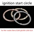 for Me-rcedes-Benz E260 glk300 c200 GLA coil Car Key Start Stop Ignition Button Ring Sticker Circle 2 colors available