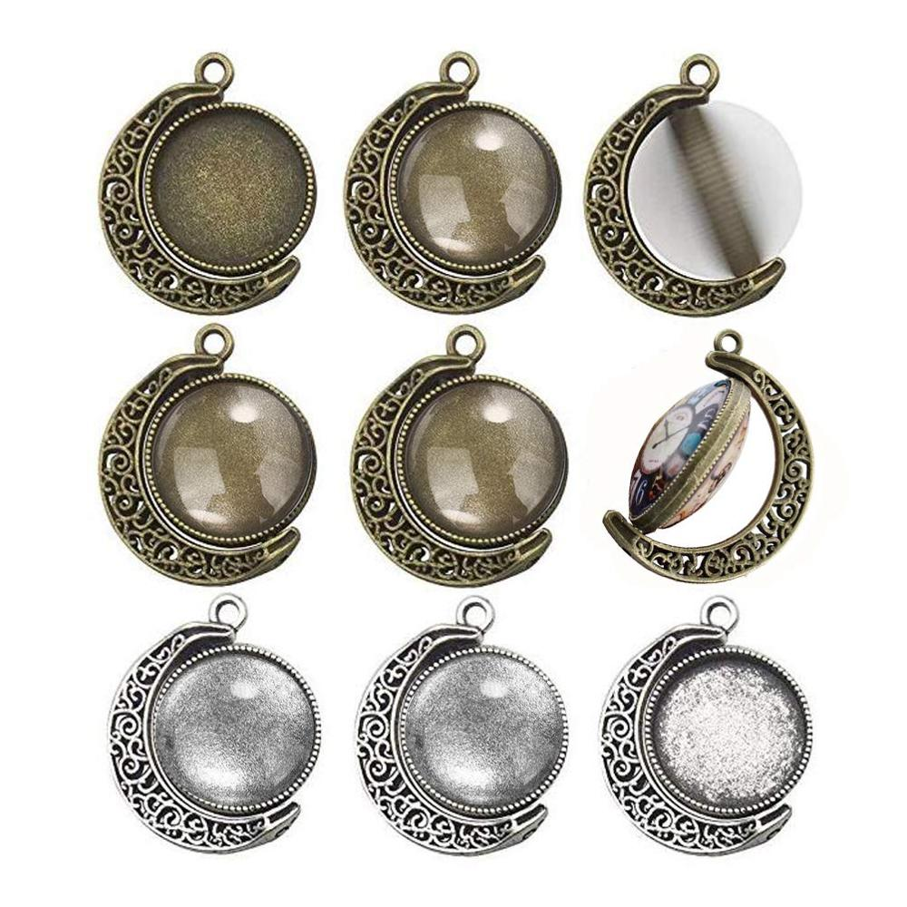 15pcs 18mm Double Side Cabochon Round Moon Rotation Cameo Base Settings Charms Pendants Bezel Tray Jewelry Making DIY Findings