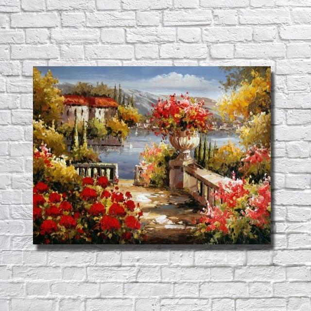 Beautiful Village Scenery Oil Painting On Canvas Medium Hand Painted