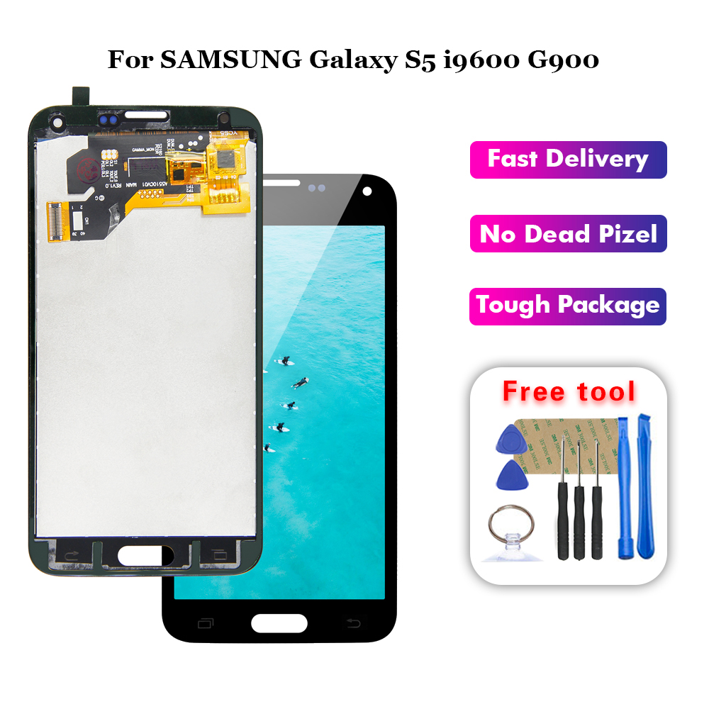 LCD For <font><b>SAMSUNG</b></font> Galaxy S5 i9600 G900 <font><b>G900F</b></font> G900A LCD <font><b>Display</b></font> Digitizer Touch Panel Screen Assembly + Tools image