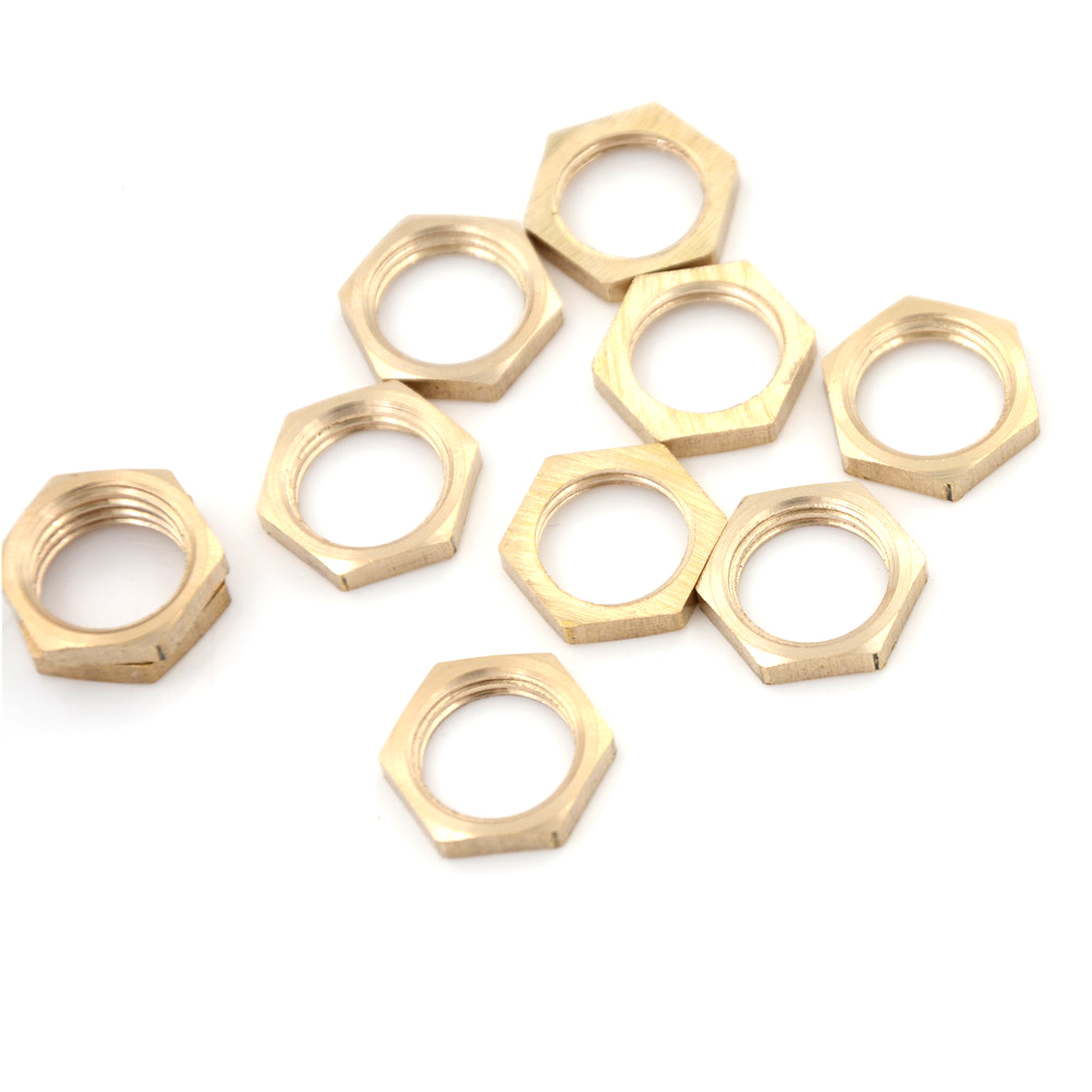 10Pcs/lot High Quality Brass Hex Lock Nuts Pipe Fitting 1/4 BSP Female Thread 3 8 bsp female thread brass pipe countersunk plug hex head socket pipe fittings end cap