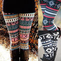 Alta Calidad 2016 Cómodas Mujeres de la muchacha ocasional Invierno Copo de nieve de Punto Elástico impreso Leggings Gimnasio Pantalones de Algodón