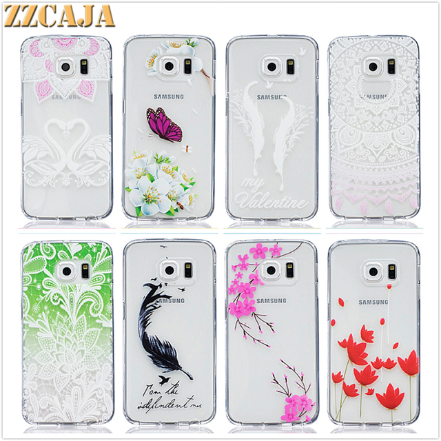 cheaper 36302 7b44f US $2.49 |ZZCAJA For Samsung Galaxy S6 edge Case New Cute Clear Soft  Silicone Feather Lines Peace Love Girl Shell for Samsung S6 Cover-in Fitted  Cases ...