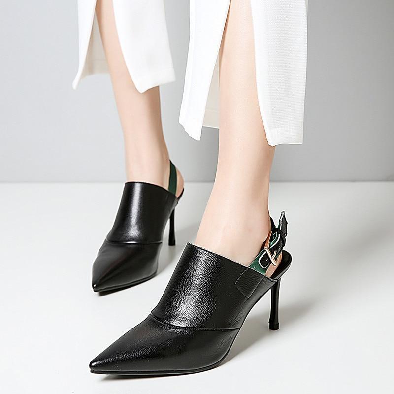 Talons 2018 Cuir Pointu Beige À Sangle Hauts Bout Automne Véritable Pompes Rome Noir noir Escarpins Dame Boucle Sexy Chaussures En Beige Ymechic 4wd7qp7