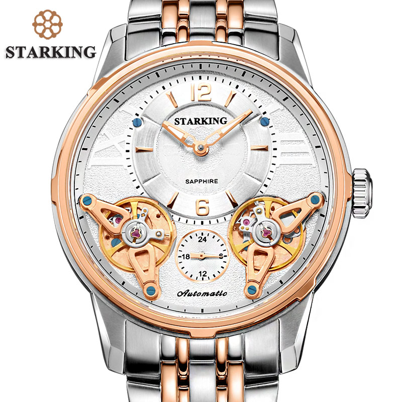 купить STARKING High-end Quality Stainless Steel Rose Gold Men Expensive Watch Mechanical 5atm Waterproof Wristwatch Analog Display дешево