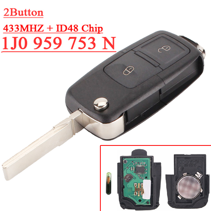 Fast shipping (1 piece) remote key 1j0 959 753N 2 button Flip remote with 433MHZ  48 chip for vw key fast shipping 1 piece 1k0 959 753 g 3 button flip remote key with 433mhz 48 chip for vw key