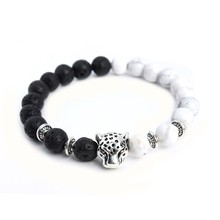Black Lava Stone & White Howlite Stone Bracelet With Silver Tibetan Leopard Head
