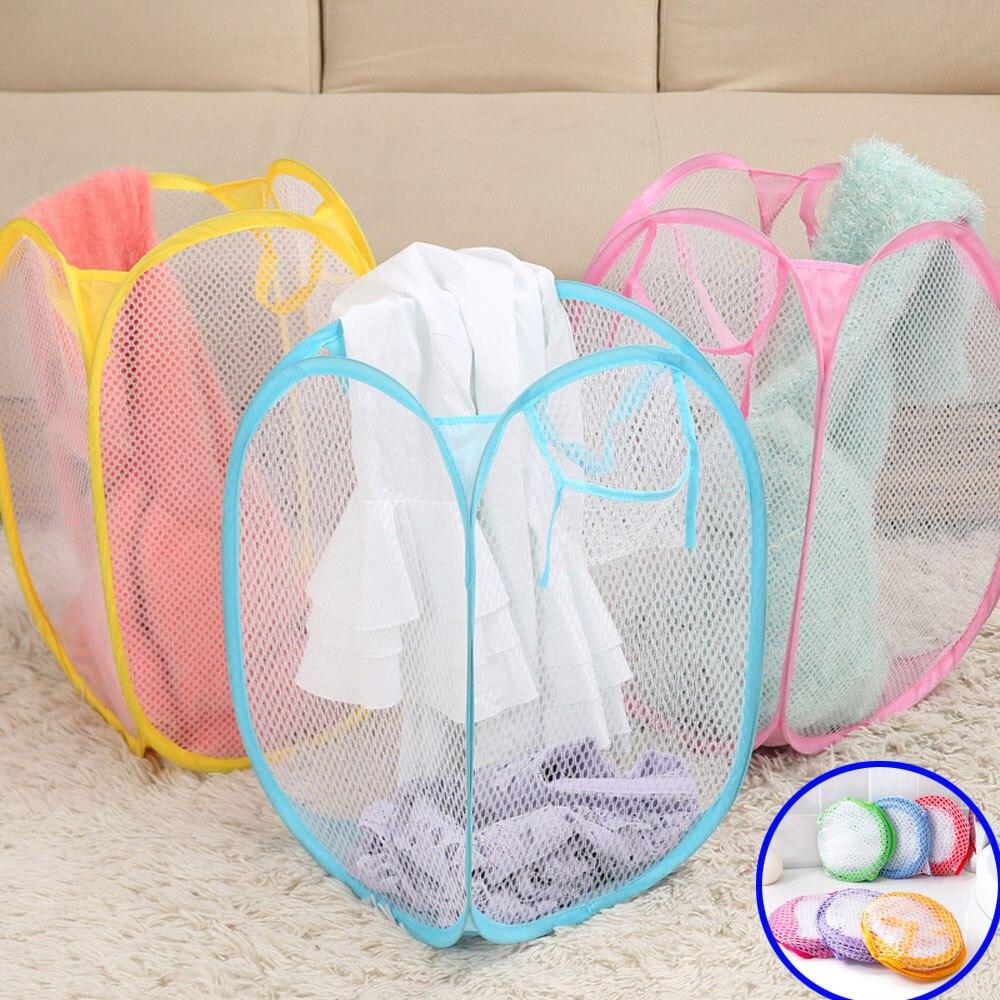 31cm x 31cm Laundry Basket Pop-Up Mesh Bin Tidy Storage Toys Fold-able Cloth Washing Mesh Fabrc Bag Housekeeping Washbag 10May31