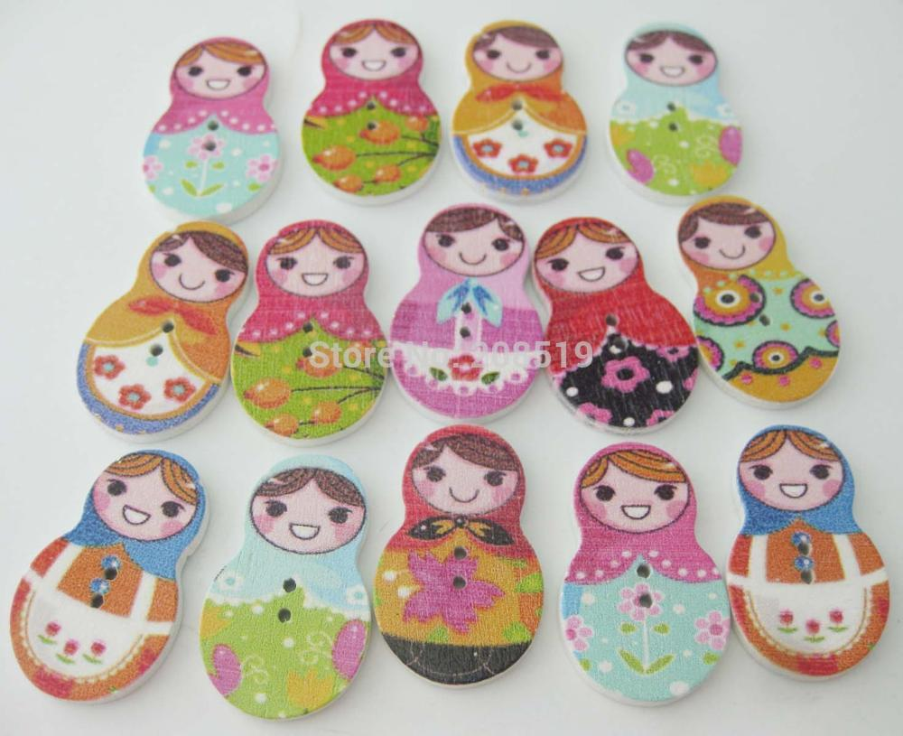 WBNWGW Cutely Girls buttons Botao 150pcs various colors mixed 2 holes wood sewing accessories