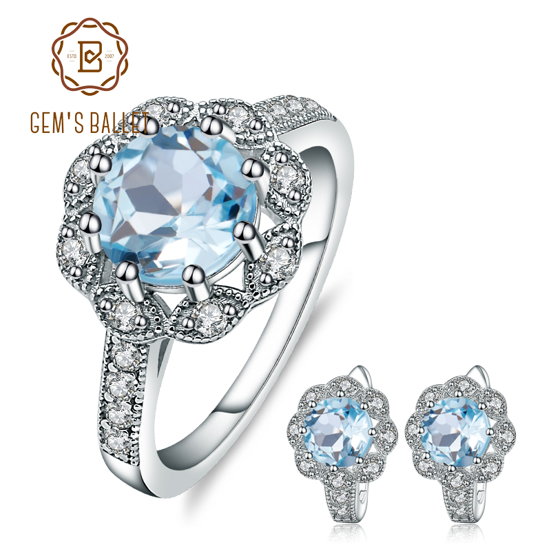 GEM S BALLET Natural Sky Blue Topaz Snowflake Rings Clip Earrings 925 Sterling Silver Gemstone Fine