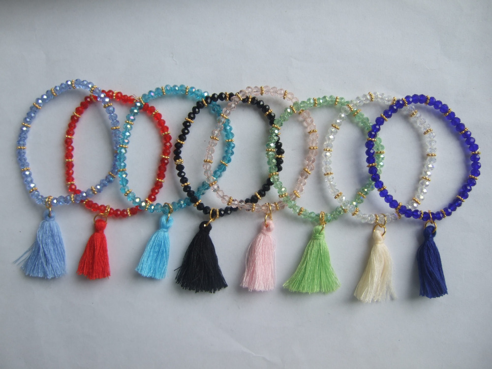 8pcs Factory Price Wholesale Colorful Color 4mm Cut Crystal Beads Elastic Bracelets & Bangles with Tassel Pendant