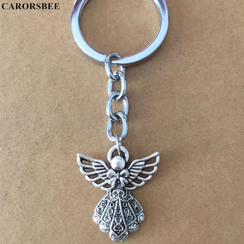 More style Car accessories Angel Metal Key Chain Motorcycle Keychain Auto Key Rings for mom Gift Keyfob for mini kawasaki nissan in Key Rings from Automobiles Motorcycles