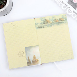 Image 4 - Scenery Retro A5 Diary Set with Lock Notebook line Organize Cute Password Planner Travel Journal Stationery Gift Box Bujo 2020
