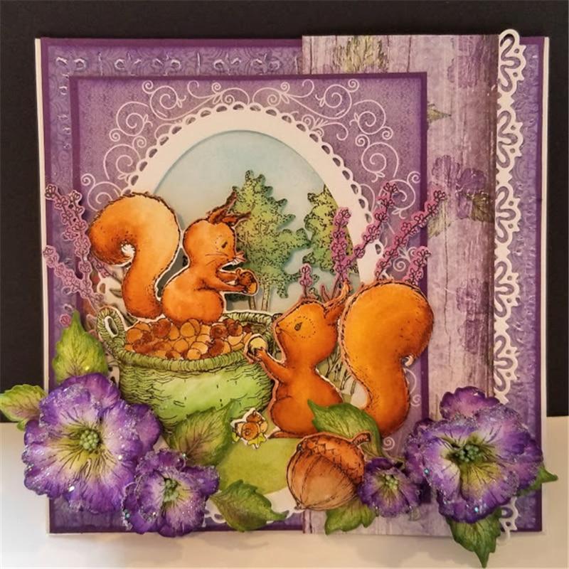 YaMinSanNiO Furry Tailed Frolic Dies Animal Squirrel Metal Cutting Scrapbooking Embossing Stencils Card Decorative Craft