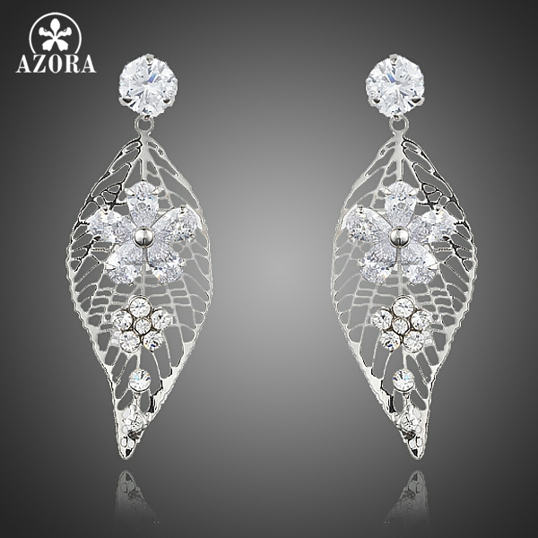 AZORA Attractive Leaf Design Clear Top grade Cubic Zirconia Flower Water Drop Earrings for Women TE0201 ultrafire v6 t60 5 mode 975 lumen white led flashlight with strap black 1 x 18650