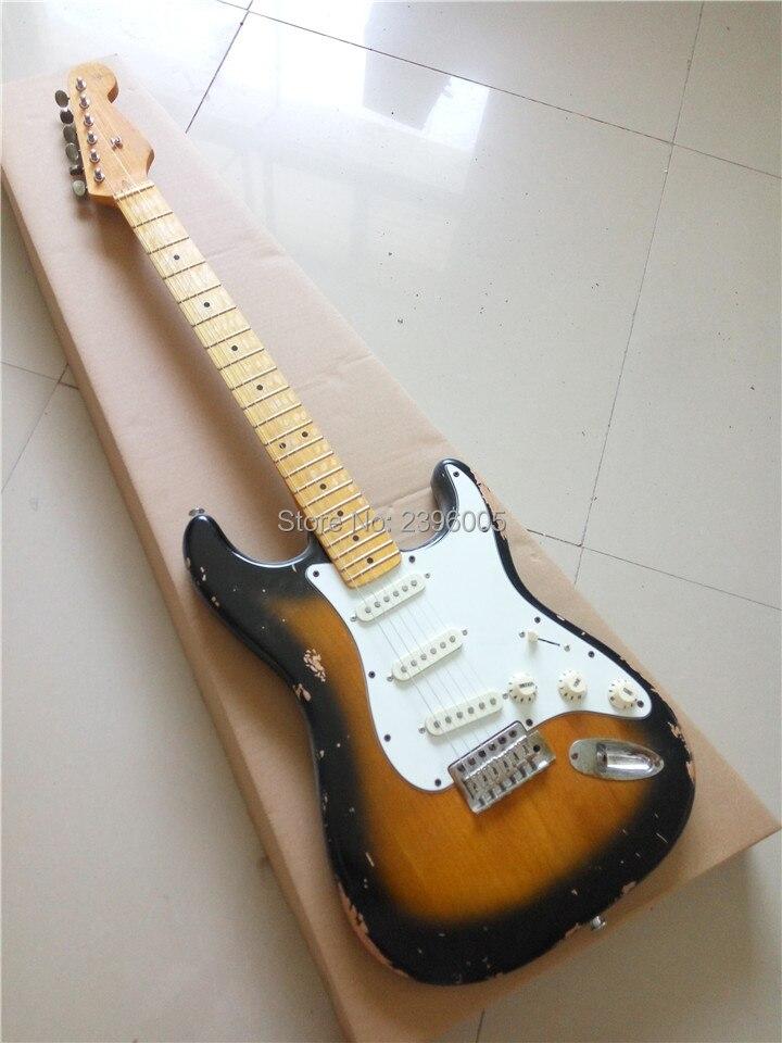 где купить Retro black sunburst st guitar. 2ts strat guitarra. light relic st ,aged details.alder material,master built studio custom дешево
