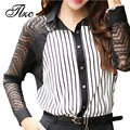 Tlzc venda quente sexy lady chiffon camisas listradas tamanho padrão S-2XL Turn Down Collar Mulheres Blusa Oco Fora de Manga Longa camisas