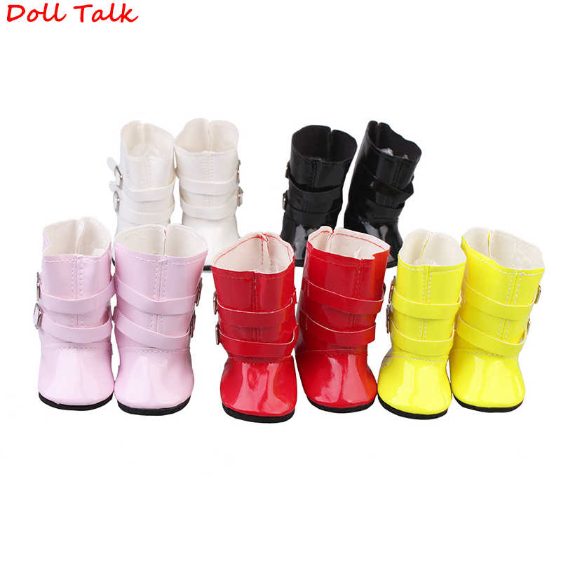 Doll Talk New Design Fashion Double Buckle Out Boots 1/6 Shoes For 18 Inch American bjd Doll Elegant Dolls Shoes For Baby Toy