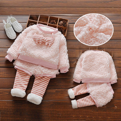 Autumn and winter clothes girls and children plus velvet thickening female baby winter coat outside suit FREE