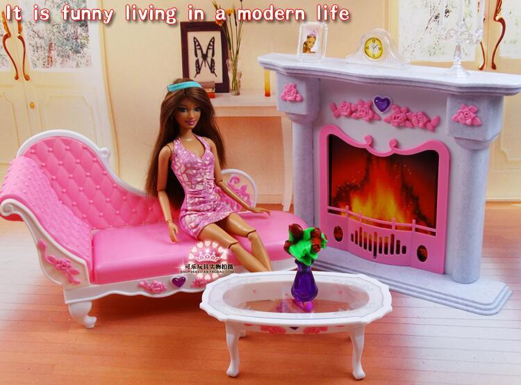 Бесплатна достава девојка рођендан пластични Играј Сет Наместај Фире место столица прибор за барбие лутку, девојке играти кућу, девојке поклони