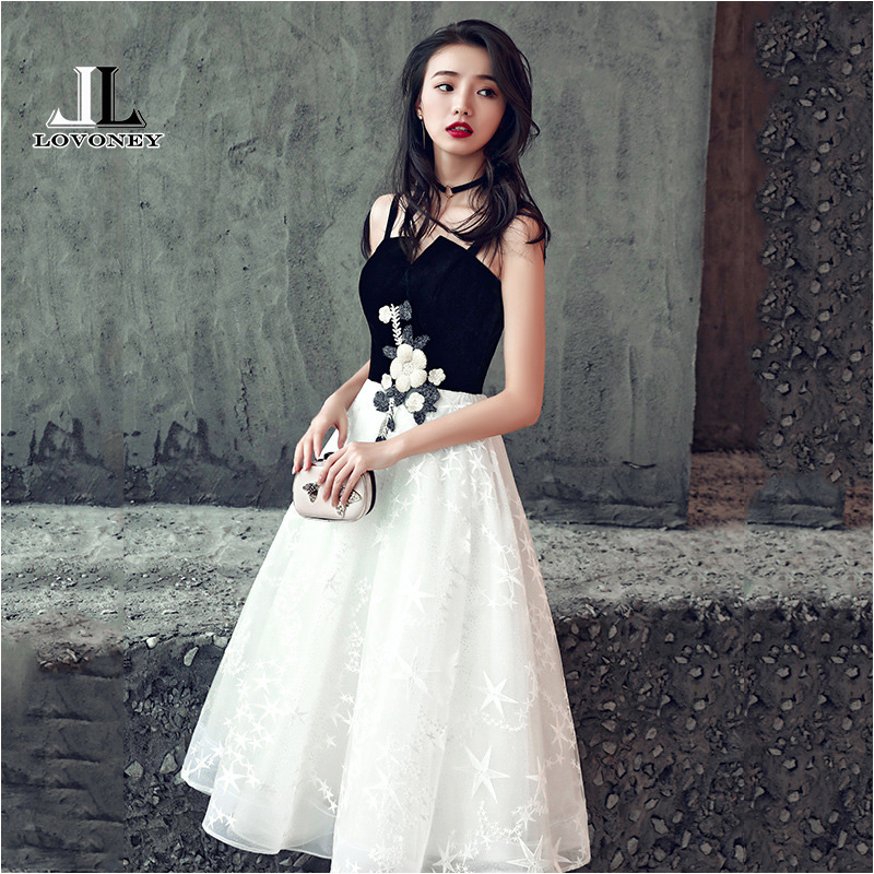 LOVONEY Tea Length Short   Evening     Dress   2018 Sexy Backless Lace Formal   Dress   Woman Occasion Party   Dresses   Robe De Soiree XYG827