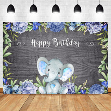 Elephant Happy Birthday Backdrop Blue Flower Cute Animal Background Photography Wood Birthday Party Dessert Table Decorate Props circus happy birthday backdrop clorful balloon flag photography background kids child birthday party dessert table decorate prop