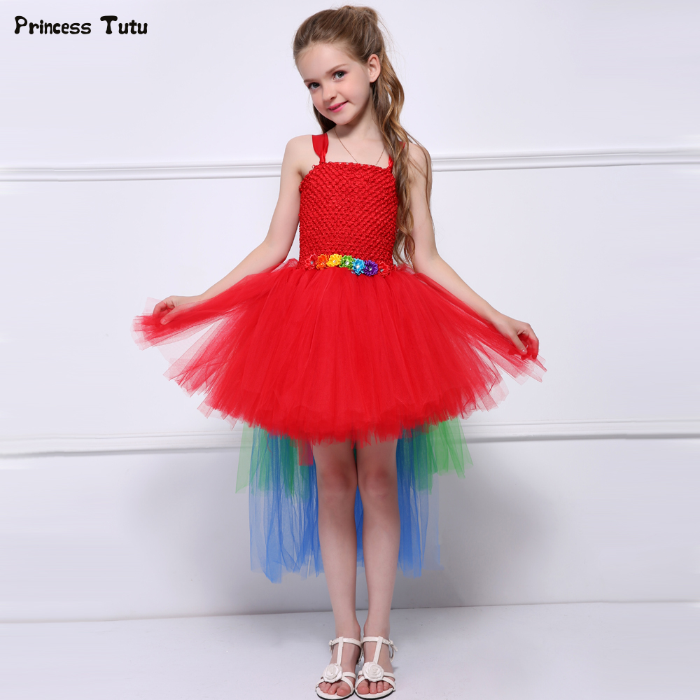 Rainbow Tail Red Girls Tutu Dress Kids Halloween Cosplay Macaw Parrot Costume Tulle Flower Children Girl Birthday Party Dresses fancy girl mermai ariel dress pink princess tutu dress baby girl birthday party tulle dresses kids cosplay halloween costume