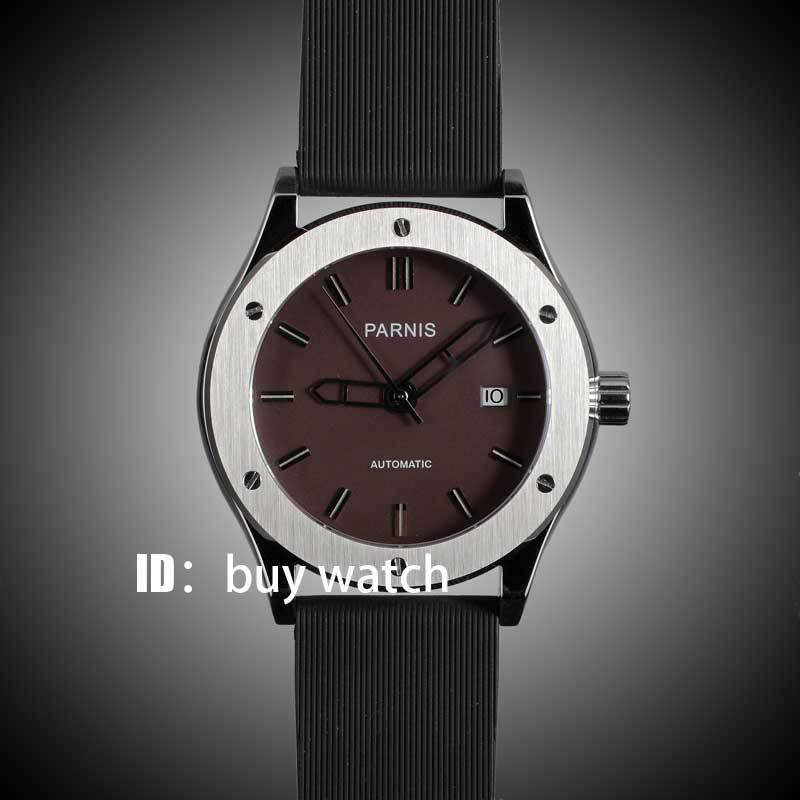 44mm parnis coffee dial dateadjust black rubber strap  movement automatic mens watch P129 40mm parnis white dial vintage automatic movement mens watch p25