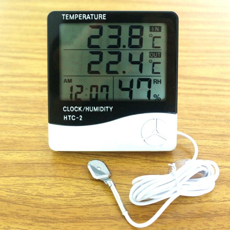 LCD Digital HTC-2 Thermometer Hygrometer Wetterstation Temperatur-feuchtigkeits-tester Clock Alarm Indoor Outdoor Sonde