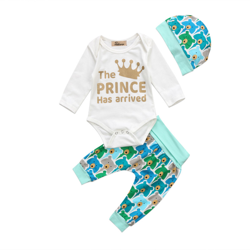 Newborn Kids Baby Boys Girls Infant Autumn Clothing Sets Bear Pirnt Cotton Long Sleeve Tops Romper Pants Hat Outfits Clothes Set