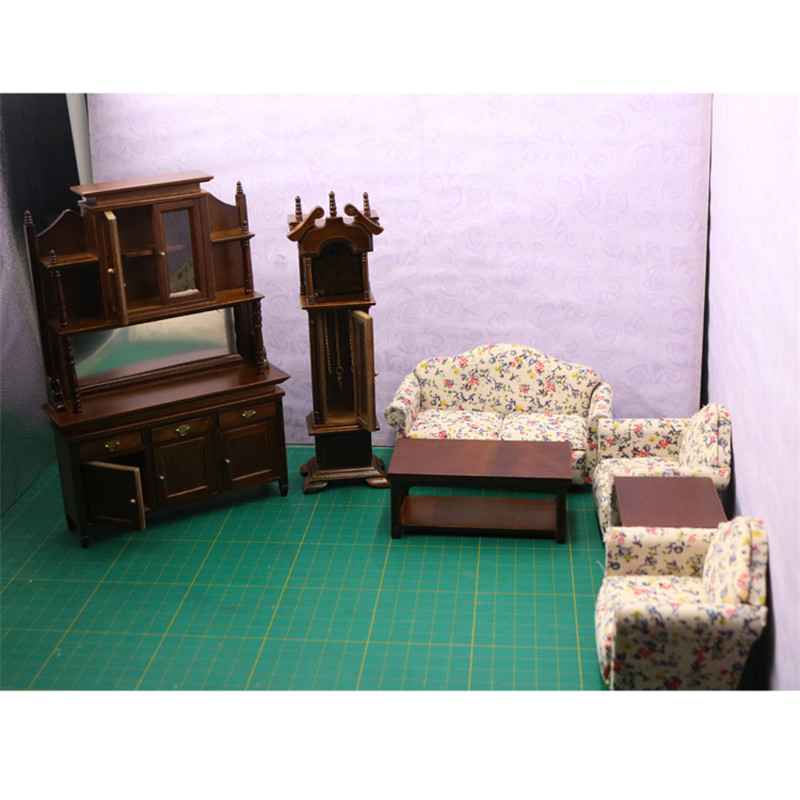 Doub K 1:12 Wooden Furniture toy brown Miniature cabinet table sofa sets Dollhouse living room pretend play toys for girls dolls pink sofa floor lamp clock set dollhouse living room furniture accessories tee table for barbie kurhn ken doll girls gift