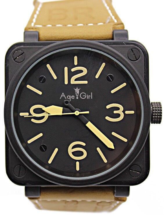 c35438b8612 Nova Marca de luxo Dos Homens de Aço Inoxidável de Couro Marrom Relógio de  Sino De Carbono PVD BR Mechanicl Automático Auto-vento Esporte Mergulho  relógios