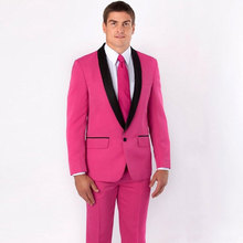 Red Prom Party Suits Man Blazers Men for Wedding Groom Tuxedo Black Shawl Lapel Terno Masculino 2Piece Coat Pants