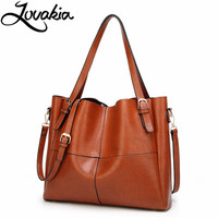 LOVAKIA Brand Handbag Women Casual Large Tote Bag Female High Quality Artificial Leather Solid Crossbody Bags